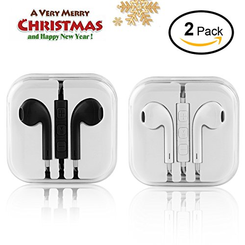 In Ear Headphones - Wired Earbuds Stereo Earphones Sport Headset Remote Volume Control with Microphone Noise Isolating Fits Android Apple Other Devices White Black (2 Pack)