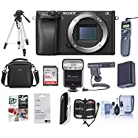 Sony Alpha a6300 Mirrorless Digital Camera Body, Black - Bundle with 64GB Class 10 SDHC Card, Camera Case, Spare Battery, Tripod, Flash, Remote Shutter Trigger, Shotgun Mic, Software Package and More