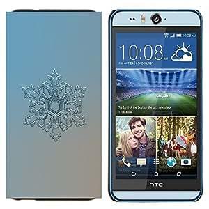 EJOOY---Cubierta de la caja de protección para la piel dura ** HTC Desire Eye M910x ** --Plata del copo de nieve Arte invierno frío azul hielo de Frost