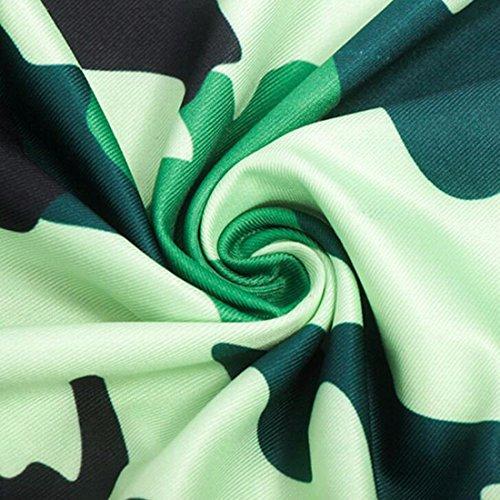 QIYUN.Z De Manga Corta Mini Vestido Atractivo Del Camuflaje Verde De La Impresion Del Bodycon Del Verano De Las Mujeres Verde