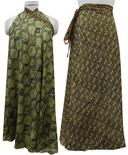 Soie Femmes Double Portefeuille Black Couche Pure Olive amp; Robe Green Lumire Saree Indianbeautifulart Jupe q05fBwxx1n