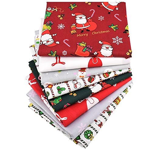 15.7x19.7 Inch Christmas Cotton Fabric- Printed Twill Cotton Fabric- Pack of 8 Patchwork Clothes for Women- DIY Sewing Quilting Fat Quarters Material for Baby- Twill Cotton Fabric - Cotton Fabric for