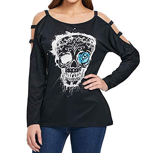 CUCUHAM Womens Long Sleeve Casual Hollow Halloween Skull