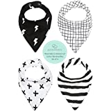 REVERSIBLE & WATERPROOF Cotton Baby Bandana Drool Bibs...