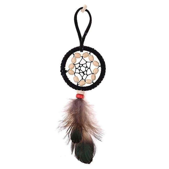 Amazon.com: Llavero de plumas de bohemio, hecho a mano ...