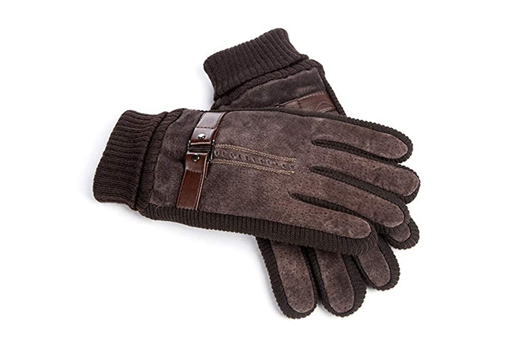 Mens Leather Touch Screen Gloves Autumn/&Winter Thick Keep Warm Windproof Smart Gloves