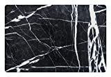 Ambesonne Marble Print Pet Mat for Food and Water, Grunge Natural Gemstone Nostalgic Marbling Architecture Culture Design, Rectangle Non-Slip Rubber Mat for Dogs and Cats, Charcoal Grey White