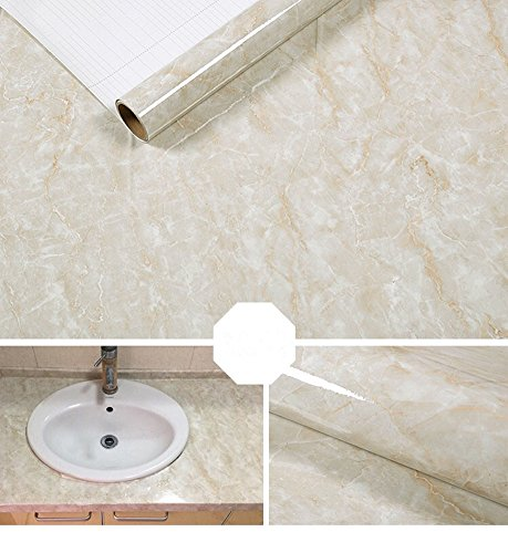 Yancorp Marble Contact Paper Removable Wallpaper Film Self-Adhesive Granite Sticker Kitchen Peel Stick Backsplash Marble Tile Countertop Furniture Shelf Liner (Small, Cream ()