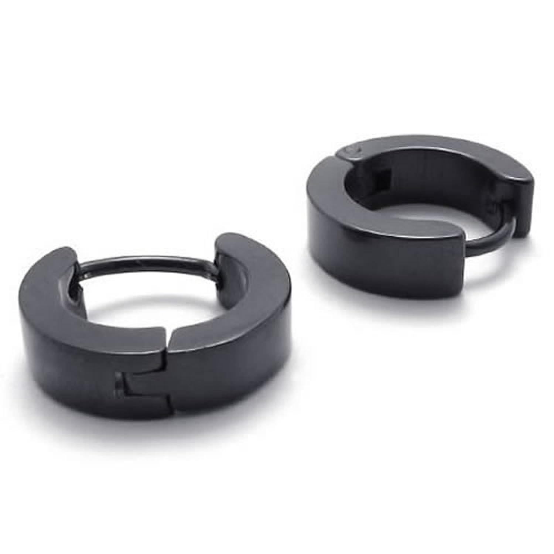 Amazon: Konov Plain Black Stainless Steel Mens Huggie Hinged Hoop  Earrings, 2pcs, Black: Men S Earrings: Jewelry