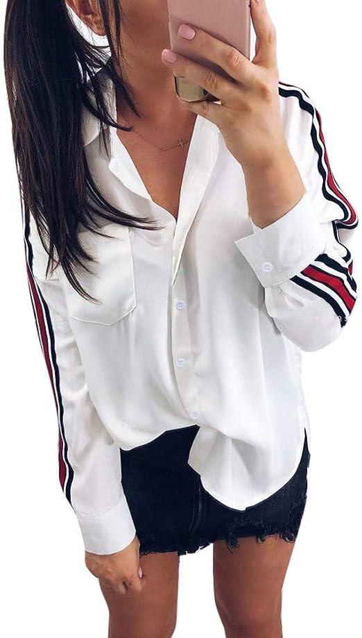 Blusa Mujer Otoño Elegante Raya Color sólido Manga Larga Moda Blusas Camisa de Oficina Cuello en v Camiseta Tops Casual Fiesta T-Shirt Original tee vpass: Amazon.es: Ropa y accesorios