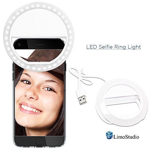 LimoStudio LED Portable Mini Selfie Ring Light for Smartphone, Camera Light for iPhone, iPad, Samsung Galaxy, Brightness Level Control, Rechargeable USB Cable, Black Cleaning Cloth Rug Wipe, AGG2142 by LimoStudio