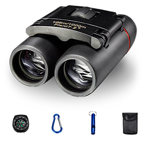 Compact Binoculars Pocket Size Easy to Focus 1022 Opera Binocular for Adults Kids Wide Angle Lightweight Theater binoculars With Mini Campass Hook and Whistle