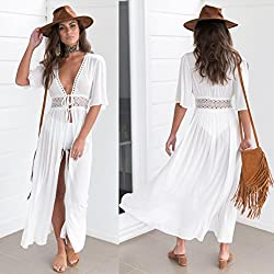 WensLTD Women Chiffon Bikini Swimsuit Cover Up Cardigan Summer Beach Cover Ups Dress (White, M)