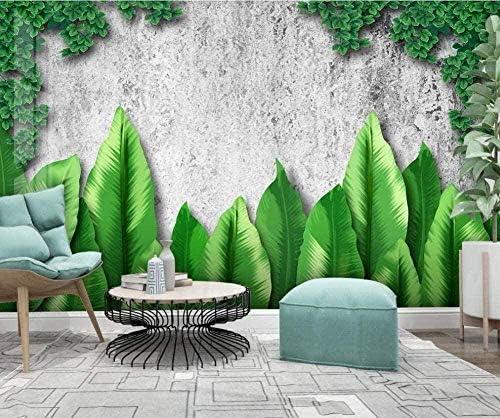 Hxcok 北欧の手塗りのカスタム3D壁画壁紙小さな新鮮な熱帯植物のリビングルームのテレビの背景の壁-340X210cm