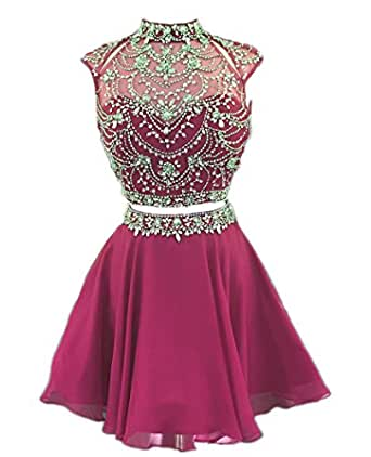 QiJunGe Crystal Beaded High Neck Two Piece Homecoming Dress Cocktail Party Gown Fuchsia US 12