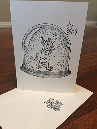 Boston Terrier, French Bulldog, Pug, or English Bulldog in Snow Globe Holiday Card, 10 Cards With Envelope