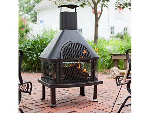 Outdoor Fireplace – Wood Burning Outdoor Fireplace with Smokestack; Gather Around the Fire in Your Backyard with This Modern Outdoor Fireplace For Sale