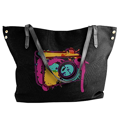 Messenger Large Handbag Shoulder Women's Canvas Tote Colorful Black Bags Camera n5xaHZ0Hwq