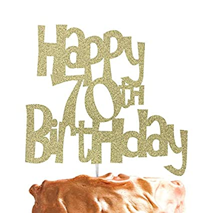 LissieLou Happy 70th Birthday Cake Topper Glitter Gold Amazoncouk Kitchen Home