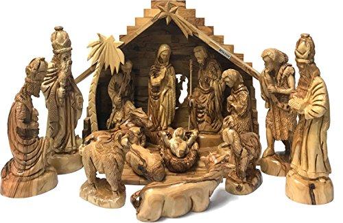Holy Land Market Extra Large Olive Wood Nativity Set - Hand-Carved (15 Inches - Set Carved Hand Nativity