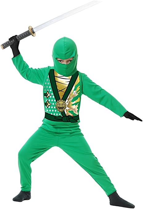 Charades Childs Ninja Avenger Series 4 Costume, Jade Green, Large
