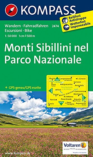 Monti Sibillini nel Parco Nazionale: Wanderkarte mit Radtouren. GPS-genau. 1:50000 (KOMPASS-Wanderkarten, Band 2474)