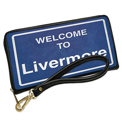 Wallet Clutch Sign Welcome To Livermore with Removable Wristlet Strap Neonblond