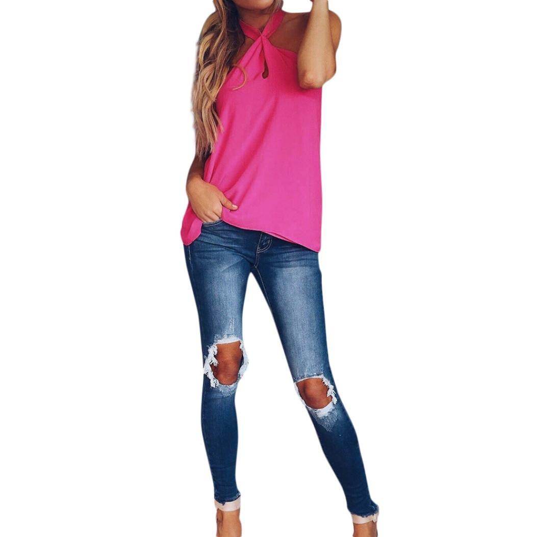ASHOP Camisetas Muje, Camisetas Sin Mangas Tallas Grandes EN Oferta Suelto Tops Blusas de Mujer Elegantes de Fiesta Baratas Chiffon sin Espalda T-Shirt Moda ...