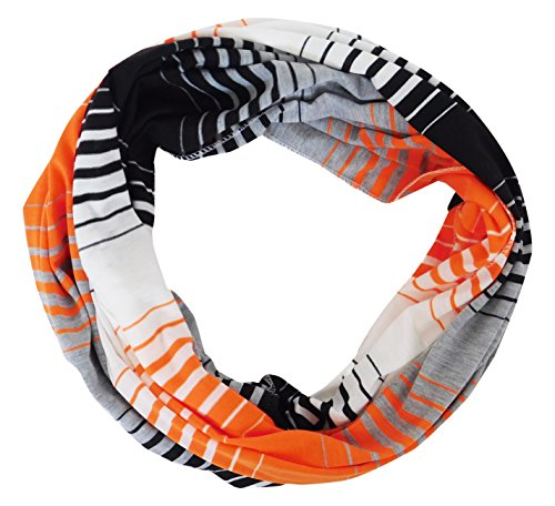 Tickled Pink Women's Striped Game Day T-Shirt Infintiy Scarf, Orange/Black, One Size -