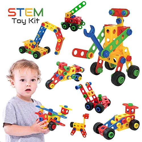 STEM Toys Kit, 75 PCS Educational Construction Engineering Building Blocks Learning Set for Ages 3, 4, 5, 6, 7 Year Old Boys & Girls by Brickyard | Best Kids Toy | Creative Games & Fun Activities