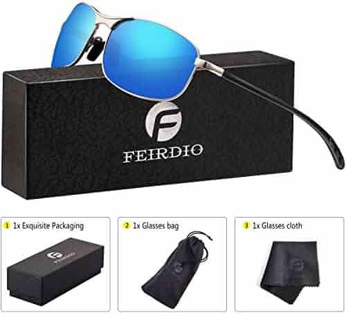 6cc26322c77 Rectangular Sport Polarized Sunglasses for Men - Feirdio Mens Sunglasses  Sports Metal Frame 100% UV