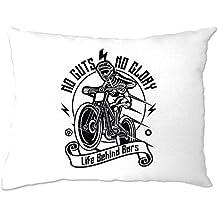 Tim And Ted Cycling Pillow Case No Guts No Glory Mountain Biking Bike White One Size