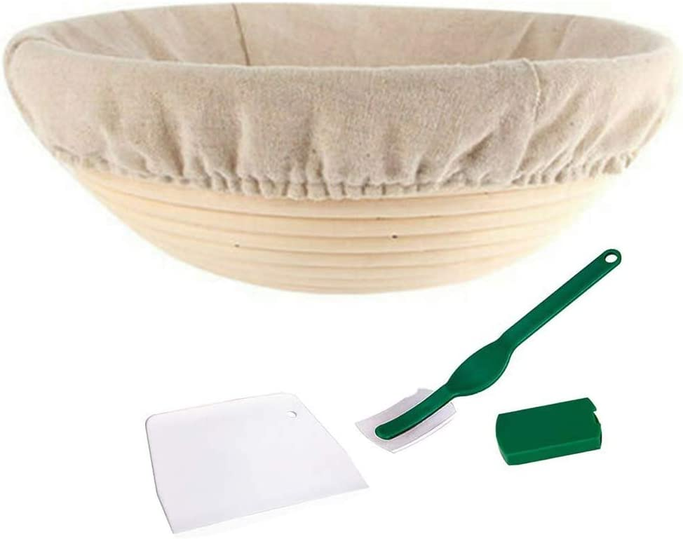 10inch Oval Oval//Round Shaped Dough Proofing Rising Rattan Basket with Liner for Professional and Home Bakers Banneton Bread Proofing Basket for Bread Baking