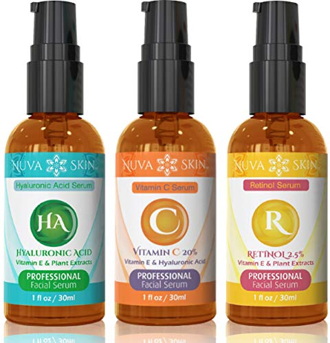 Nuva Skin Facial Serums 3 Pack- Vitamin C Serum, Retinol Serum & Hyaluronic Acid Serum- All-Natural Face Serum (Vitamin C Serum Acne)
