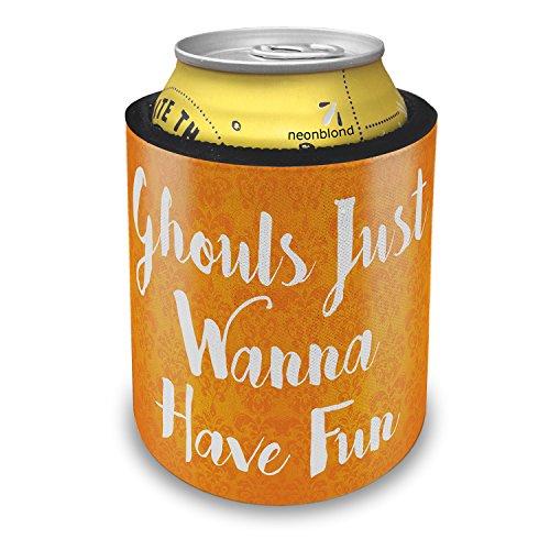NEONBLOND Ghouls Just Wanna Have Fun Halloween Orange Wallpaper Slap Can Cooler Insulator Sleeve]()