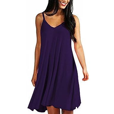 5bba486a8c1a Women Tank Dress Teen Girls Sling Sleeveless Plain Simple Solid Color Mini Dress  Loose Cusual A