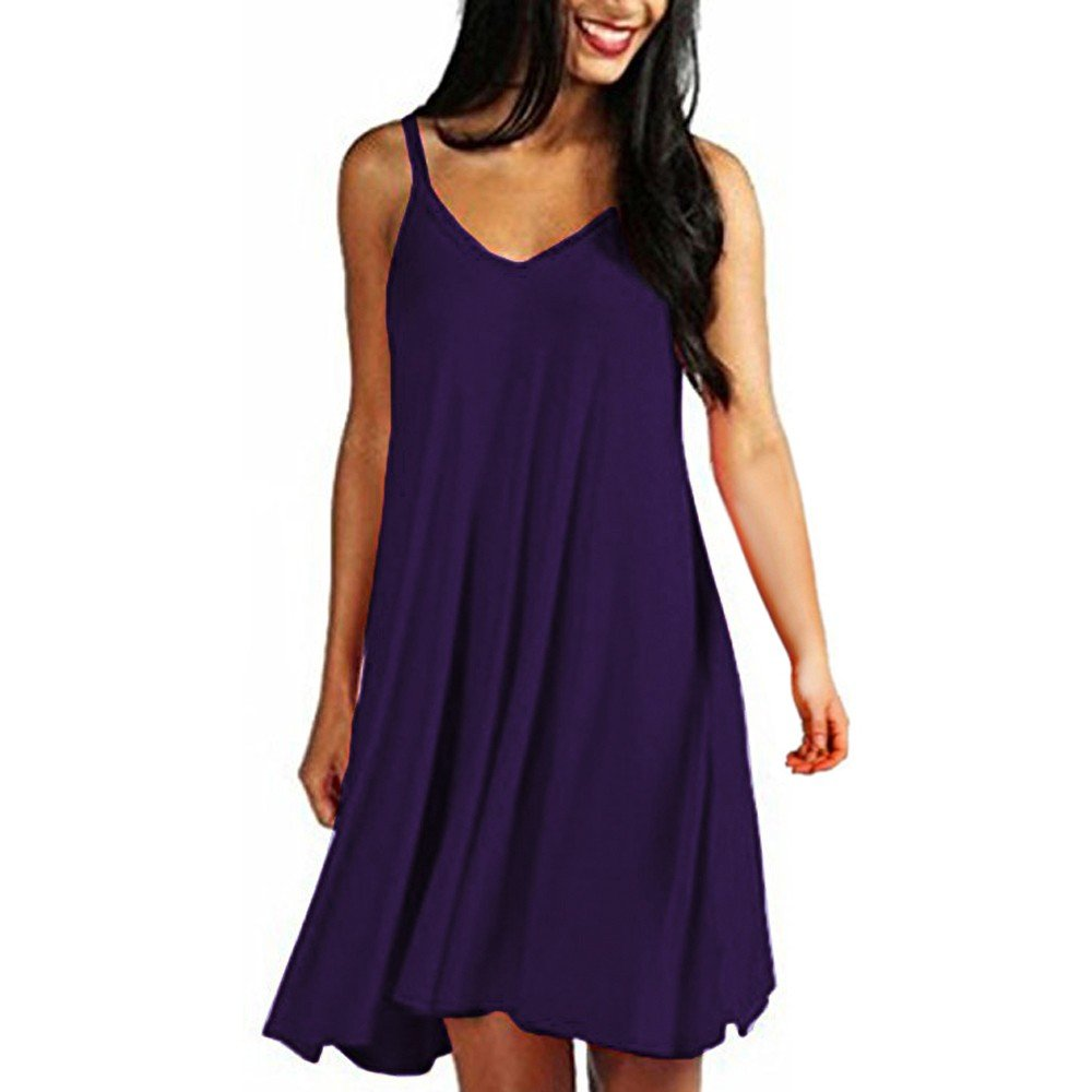 Women's Casual Solid Spaghetti Strap Sleeveless Mini Dress Summer Loose V-Neck A-Line Party Dresses Beach Sundress Purple