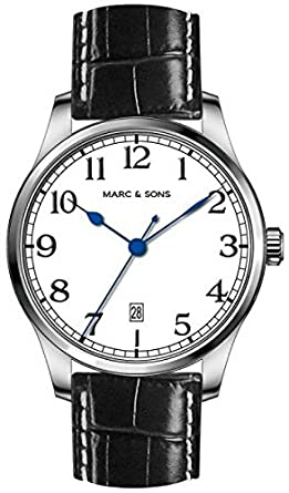 MARC & SONS Marine Automatik Herrenuhr weiß Datum - Miyota 9015 - Referenz MSM-006