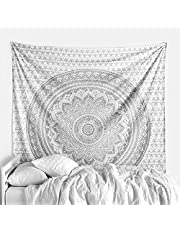 THE ART BOX Mandala Tapestry for Bedroom Wall Decor Wall Hanging Beach Blanket Bed Throw Tapisserie Hippie Room Decor Bohemian Trippy Tapestry Psychedelic , Silver , 140x210 Cms