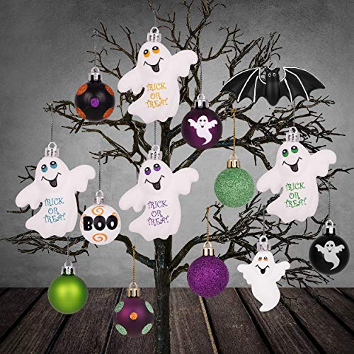 Halloween Wreath Decorations (Valery Madelyn 24ct Shatterproof Halloween Ball Ornaments Novelty Halloween Ghost and Bat Decorations, Themed with Halloween Wreath (Not)