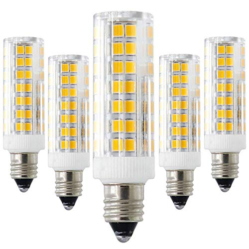 LED E11 Bulb, 6W 60W Replacement, E11 Mini Candelabra Base Bulbs, Dimmable, T3/T4, 360 Degree Beam Angle for Indoor Decorative Lighting(5-Pack) (Warm, 6.5W) by XRZT