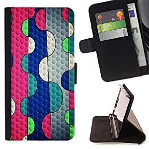 BullDog Case - FOR/HTC DESIRE 816 / - / abstract lines pink bubble blue teal /- Monedero de cuero de la PU Llevar cubierta de la caja con el ID Credit Card Slots Flip funda de cuer