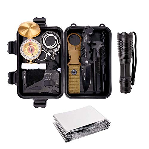 Survival Gear Kits 13 in 1- Outdoor Emergency SOS Survive Tool for Wilderness/Trip/Cars/Hiking/Camping Gear - Wire Saw, Emergency Blanket, Flashlight, Tactical Pen, Water Bottle Clip ()