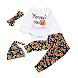 Infant Baby Girls Boys Pumpkins Rompers Newborn Toddler Halloween Outfits Set (24M, White)