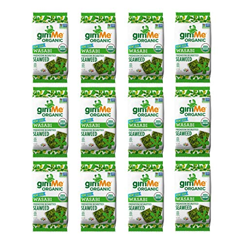 gimMe Snacks Organic Premium Roasted Seaweed, Wasabi, Gluten-Free & Non-GMO, 0.17 Ounce (5 g) - (Pack of 12)