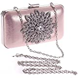Ladies Elegant Rhinestone Large Flower Evening Purse Handbag Clutch Bag (Pink)