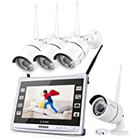 ANNKE 960P HD wireless Security System 4-Channel Wi-Fi NVR with 11 Monitor Screen Built-in and (4) 1.3MP 1080960 IP Cameras, Smart Motion Detection and Email Alert NO HDD