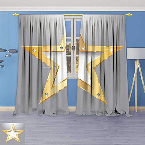 Art Curtains Collection,Big Star on Metal Plate with Diamonds Hanging in The Air Love Luxury Window Curtain Set of 2 Panels, Living Room
