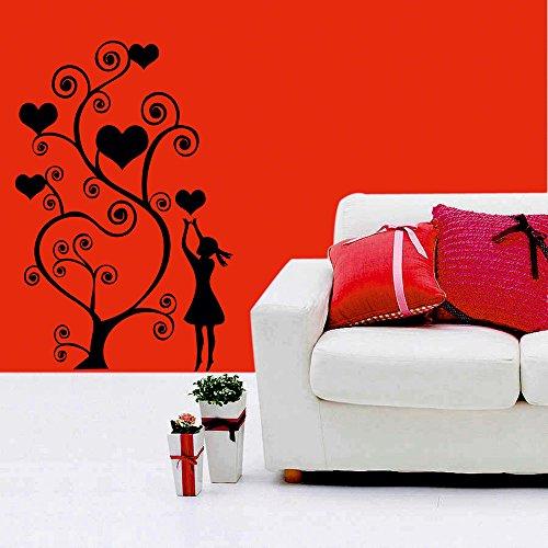 meSleep Heart Tree Valentine Design Black Wall Sticker
