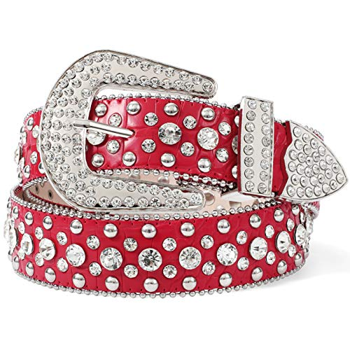 Women Rhinestone Belt, Western Cowgirl Studded Leather Belt, Bling Rhinestone Belt for Women for Jeans, Ladies Fashion Bling Rhinestone Belt, Red Rhinestone Belt Women, Fit Pants Size 29
